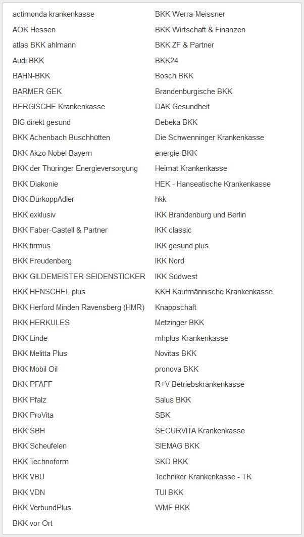 Gesetzliche Krankenkassen Liste 2019